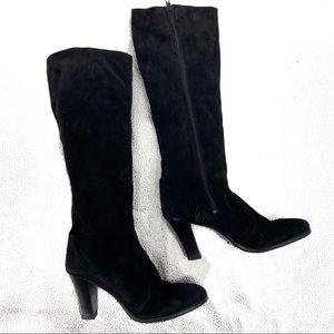 Vintage 80s Suede Black Tall Boot Bandolino